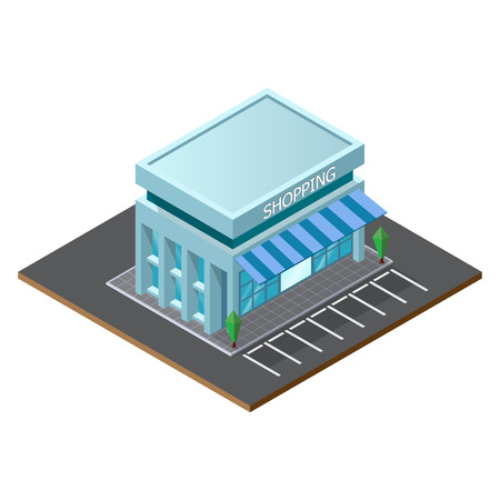 Vector isometric low poly supermarket store building. illustrator vector.