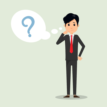 Business man thinking with question mark in think bubble vector illustration. Business man and question in bubble think. Vector illustrator.