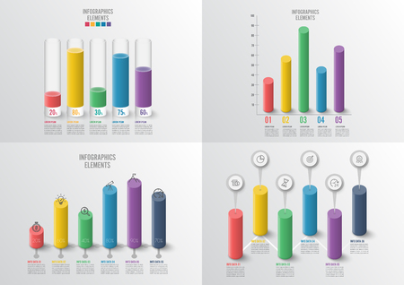 Graphs and charts set. Statistic and data, iInfographic business concept with 4, 5 options For content, diagram, flowchart, steps, parts, timeline infographics, workflow, chart. vector illustration. 일러스트