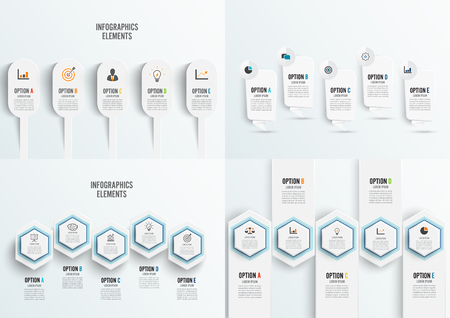 Set vector infographic template with 3D paper label, integrated circles. Business concept with 5 options. For content, diagram, flowchart, steps, parts, timeline infographics. Illustration
