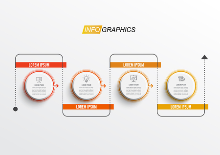 Thin line minimal infographic design template with 4 options or steps. Can be used for process diagram, presentations, workflow layout, banner, flow chart.