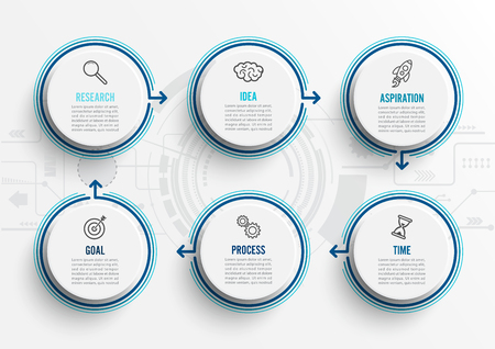 Vector infographic template with icons and 6 options or steps. Infographics for business concept. Can be used for presentations banner, workflow layout, process diagram, flow chart, info graph.