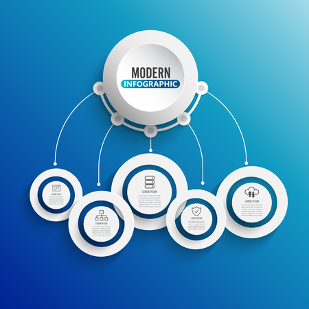 Technology infographic template with 3D paper label, integrated circles. Business concept with 5 options. For content, diagram, flowchart, steps, parts, timeline infographics, workflow layout, chart