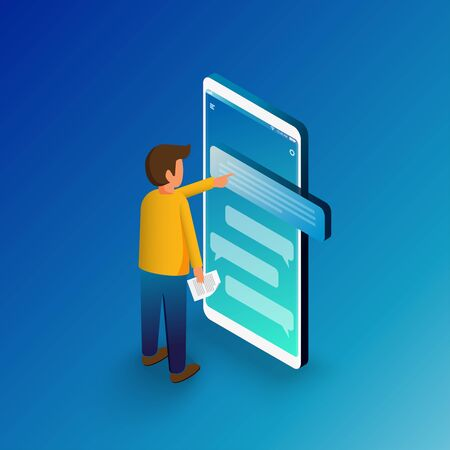Isometric man typing on mobile smartphone. Sms messages chat and Speech bubbles.  Flat vector illustration.