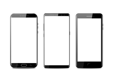 New realistic mobile black smartphone modern style. Vector smartphone isolated on white background. set of vector mockups. Stock Illustratie