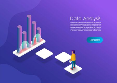 Isometric data analytics concept banner. Can use for web banner, infographics, hero images. Flat isometric vector illustrations with trendy gradients