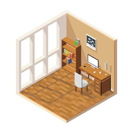 Vector isometric low poly room cutaway icon. Room includes furniture - working table with computer.