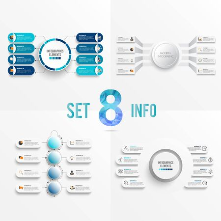 Set vector infographic template with 3D paper label, integrated circles. Business concept with 8 options. For content, diagram, flowchart, steps, parts, timeline infographics, workflow, chart.