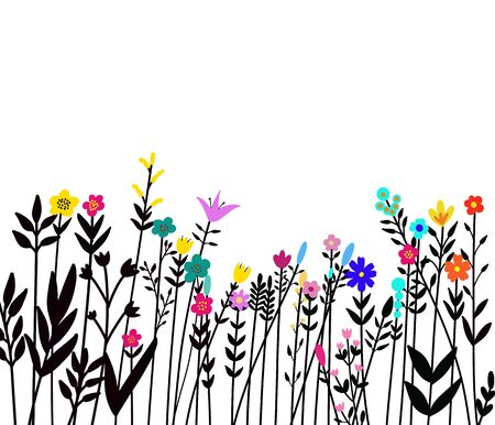 Floral seamless border of a wild flowers and herbs on a white background.. Watercolor hand drawn illustration. Clipping path