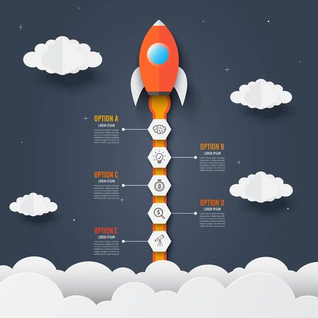Infographics template of rocket through the clouds. icons and text. Successful startup business concept. Used for web design and workflow layout. Vector illustration.
