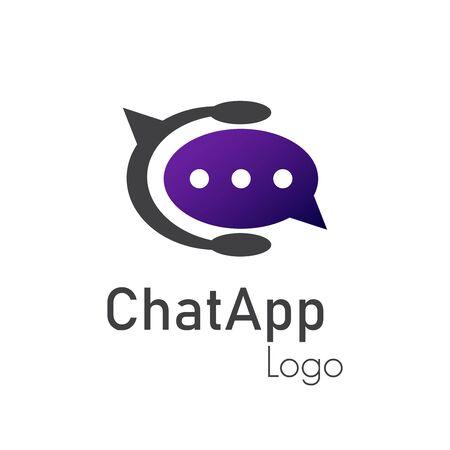Chat app logo in vector illustration.