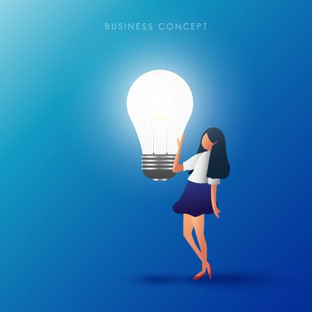 The women touch the lamp. Creative thinking  and idea concept. Vector illustration.