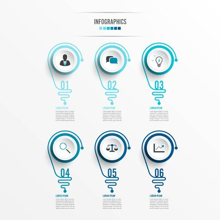 Abstract infographic with light bulb. Infographics for business presentations or information banner 6 options.