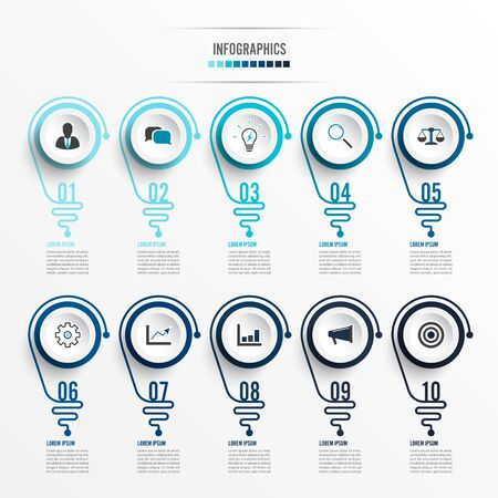 Abstract infographic with light bulb. Infographics for business presentations or information banner 10 options. Çizim
