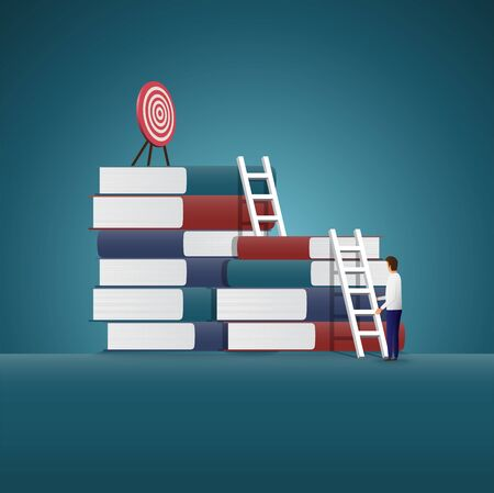 Businessman are going up to find goals on book. vector concept.  Symbol of business goals, aims, mission, opportunity and challenge. Vector illustration. Ilustração