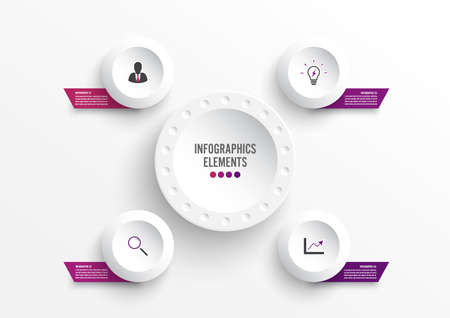 Vector infographic template with 3D paper label, integrated circles. Business concept with 4 options. For content, diagram, flowchart, steps, parts, timeline infographics, workflow, chart. Vettoriali