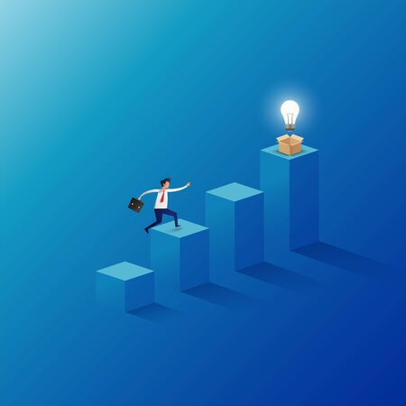 Businessman jumping to the top of the graph have light bulb up from the opening box. Business concept creative and idea. Vector illustration
