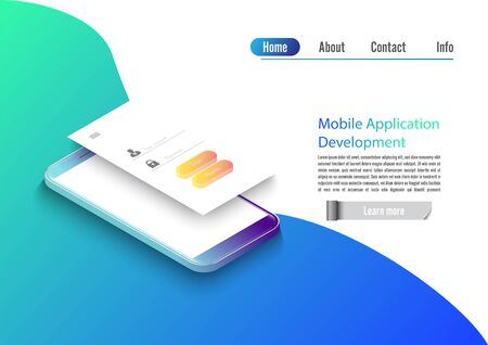 Mobile app development vector illustration. Isometric mobile phone with layout of application. User experience, user login interface. Gadget software.