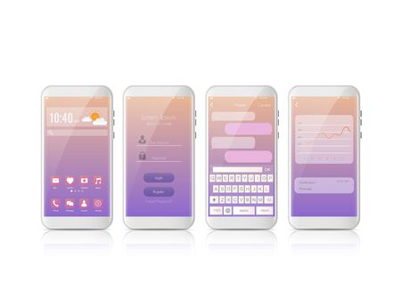 New realistic mobile smart phone modern style. Vector smartphone with Set of UI, UX, GUI screens. interface login design and messaging sms app on white background. Ilustración de vector