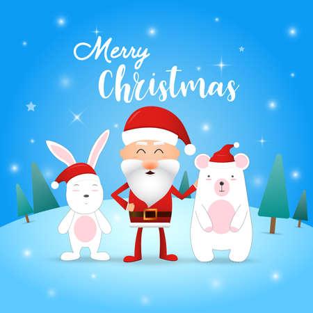 Merry Christmas! Happy Christmas companions. Santa Claus, rabbit and bear in Christmas snow scene. illustrator vector. Vettoriali