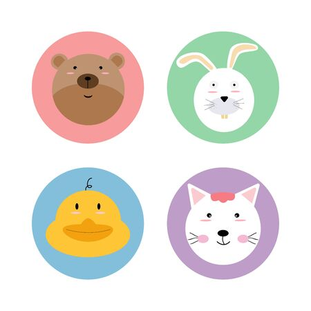 Animals pet wildlife circle icon logo label sticker set with bear, rabbit, duck and cat. flat vector illustration cartoon character design isolated.