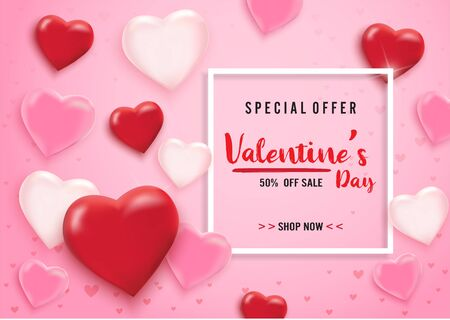Valentines day sale background with balloons heart and icon set pattern. Vector illustration. Wallpaper, flyers, invitation, posters, brochure, banners. Vektorgrafik