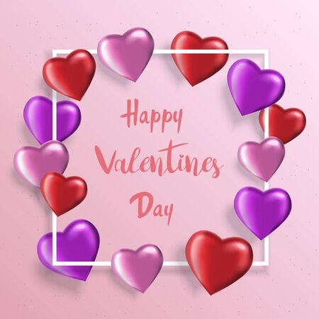 Valentines Day background with realistic heart-shaped balloons. Greeting card, invitation or banner template Vettoriali