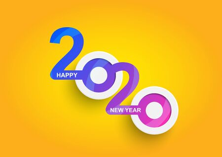 Abstract happy New Year 2020 logo text design. Cover of business. Brochure design template, card, banner. Vector illustration. Vettoriali