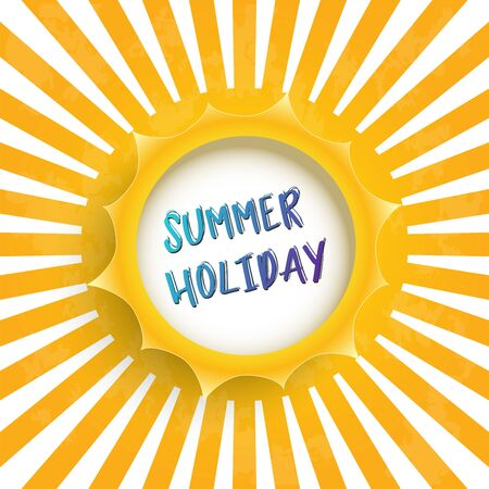 Summer holiday vector banner sun design with white circle for text. Vector illustration. Vettoriali
