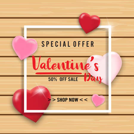 Valentines day sale background with balloons heart on wooden. Vector illustration. Wallpaper, flyers, invitation, posters, brochure, banners. Vettoriali