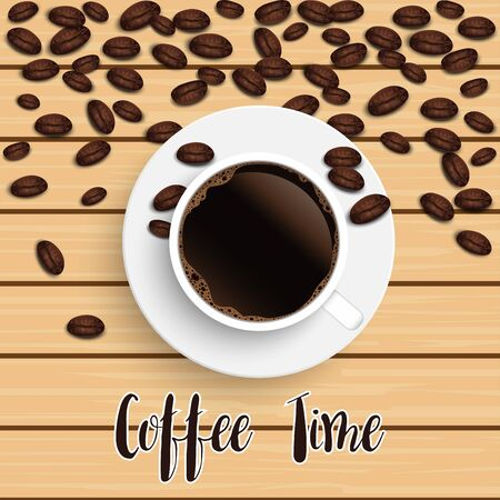 Realistic top view black coffee cup with beans on wooden background. illustrator vector.