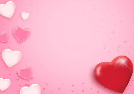 Valentine's day background with hearts. Vector illustration. Wallpaper, flyers, invitation, posters, brochure, banners.