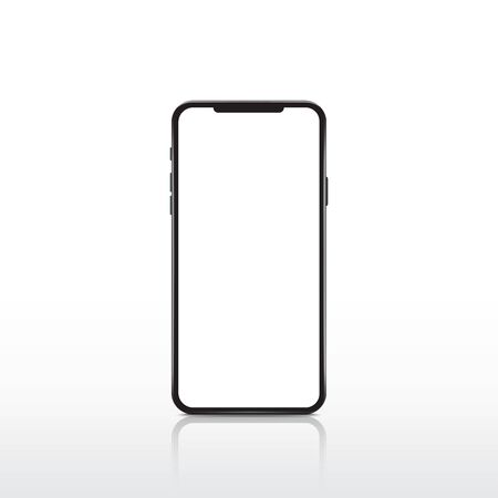 Modern realistic white smartphone. Cellphone frame with blank display. Vector mobile device concept.