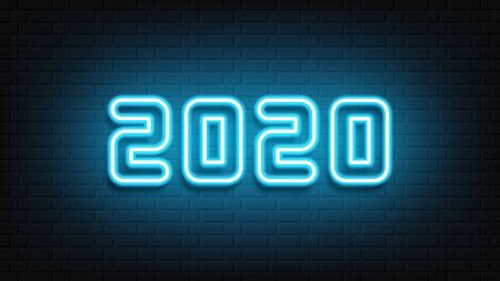 Happy New Year neon design. 2020 neon text. Neon 2020 new year sign. Vector Illustration.