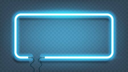 Neon rectangle lamp wall sign isolated on transparent background. Vector blue power glowing bulb banner, light line or neon frame for your design. Vector Illustration.