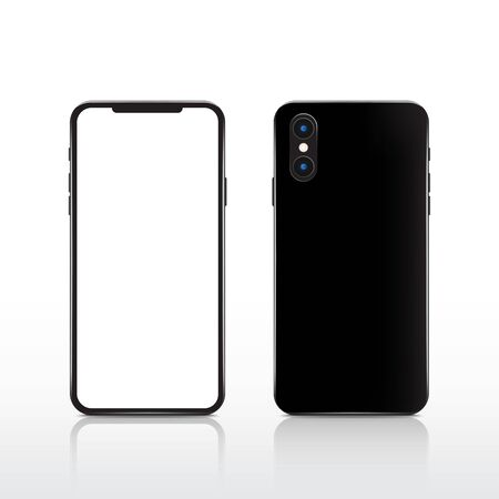 Modern realistic black touchscreen cellphone tablet smartphone on white background. Phone front and back side isolated. Vector illustration.