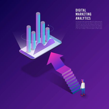 Flat design concept digital marketing analysis data information of customer with businessman and woman standing via computer. Vector illustrator.