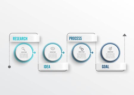 Thin line minimal infographics design template with icons and 4 options or steps. Can be used for process diagram, presentations, workflow layout, banner, flow chart, info graph. Vettoriali