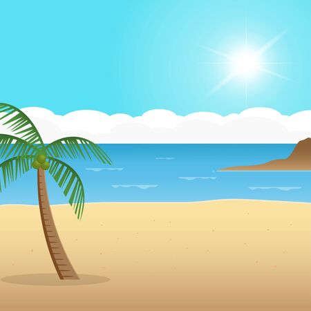 Tropical island in the ocean with palm trees. Vector illustration.