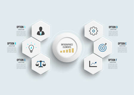 Vector infographic template with 3D paper label, integrated circles. Business concept with 6 options. For content, diagram, flowchart, steps, parts, timeline infographics, workflow, chart. Archivio Fotografico - 150587046