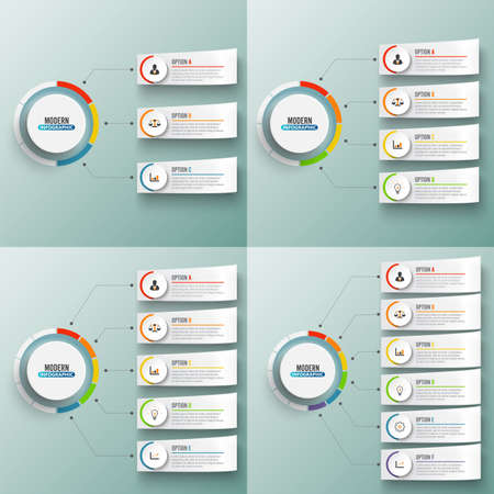 Abstract elements of graph Vector infographic template with label, integrated circles. Business concept with 3, 4, 5 and 6 options. For content, diagram, flowchart, steps, parts, timeline infographics, workflow layout, chart. Archivio Fotografico - 150587146