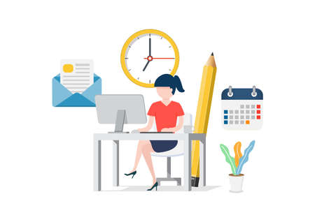 Woman sitting at the computer in the office. Set for business work schedule, clock, email documents, letter, coffee, calendar. Company employee and office.