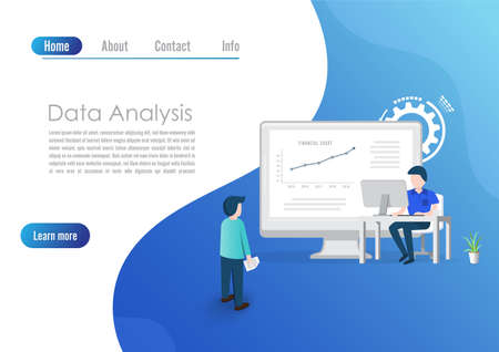Modern flat design concept of Big Data Analysis for website and computer website development. Landing page template. Digital information chart and statistic financial budget. Vector illustration