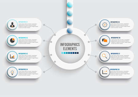 Vector infographic template with 3D paper label, integrated circles. Business concept with 8 options. For content, diagram, flowchart, steps, parts, timeline infographics, workflow, chart. Vettoriali