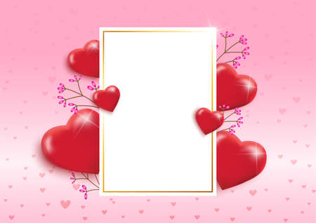 Valentines Day background with textbox and beautiful hearts balloons. Greeting card, invitation or banner template