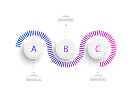 Abstract elements of graph infographic template with label, integrated circles. Business concept with 3 options. For content, diagram, flowchart, steps, parts, timeline infographics, workflow layout.