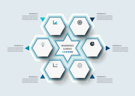 Vector illustration infographics 6 options. Infographics for business concept. Can be used for presentations banner, workflow layout, process diagram, flow chart, info graph.