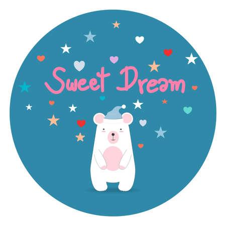 Sleeping little beer. Sweet dreams. illustrator vector.