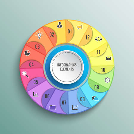 Pie chart circle infographic template with 12 options. Business concept. Vector illustration. Vettoriali