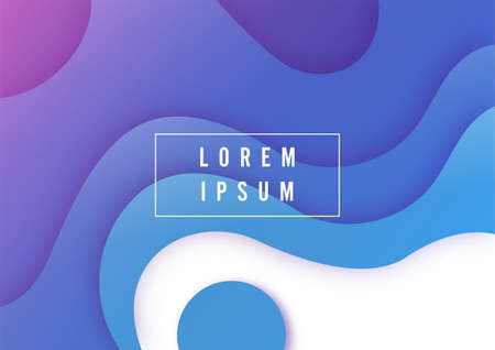Cover template A4 banners with 3D abstract background with blue paper cut waves. Contrast colors. Vector design layout for presentations, flyers, posters Vettoriali